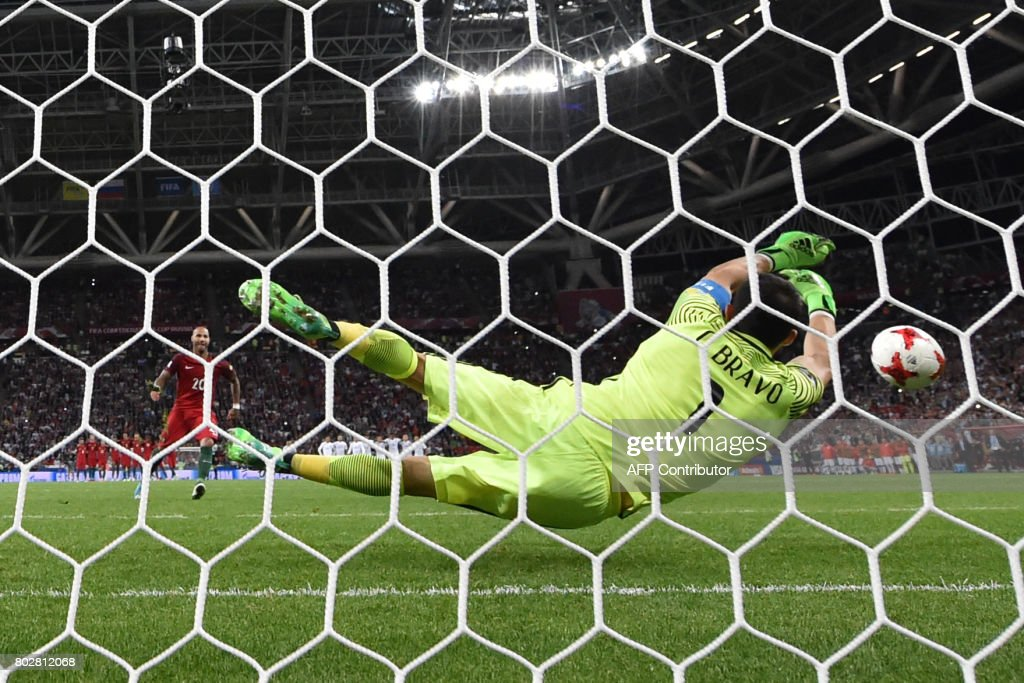 TOPSHOT - Portugal's forward Ricardo Quaresma misses a goal in a penalty shoot out against Portugal during the 2017 Confederations Cup semi-final football match between Portugal and Chile at the Kazan Arena in Kazan on June 28, 2017. Chile moves into the finals of the 2017 Confederations Cup. /