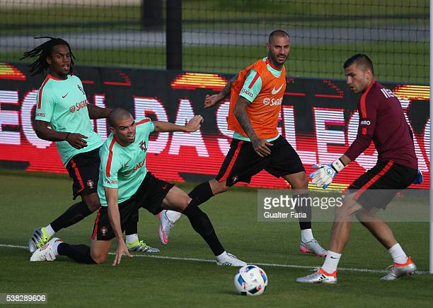 Portugal's forward Ricardo Quaresma with Portugal's midfielder Renato Sanches Portugal's defender Pepe and Portugal's goalkeeper Anthony Lopes in...