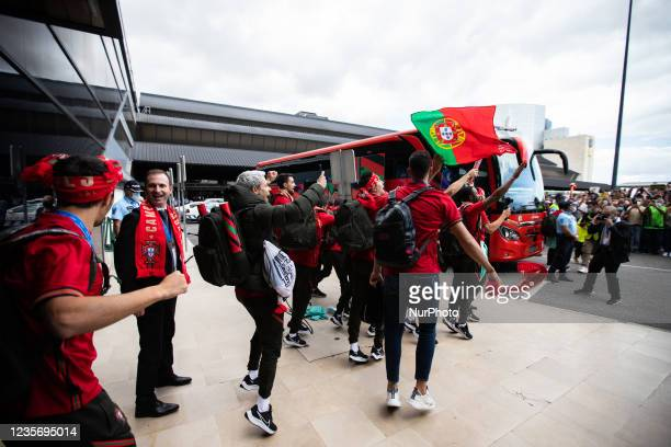 Portugals Futsal National team arrives at Lisbon Airport in euphoria after having won the 2021 World Cup in Lithuania, on October 4 at Airport...