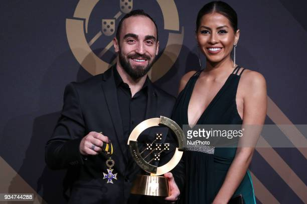 Portugal's futsal player Ricardinho poses at 'Quinas de Ouro' ceremony held at Pavilhao Carlos Lopes in Lisbon on March 19 2018