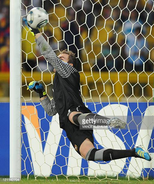 Portugal's goakeeper Simoes Mika catches the penalty kick of Argentina during their FIFA World Cup U20 football match at Jaime Moron Olimpic stadium...