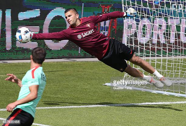 Portugal's goalkeeper Anthony Lopes in action during Portugal's National Team Training session in preparation for the Euro 2016 at FPF Cidade do...