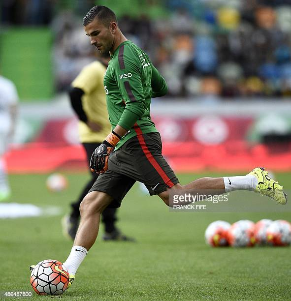 Portugal's goalkeeper Anthony Lopes kicks the ball before the Euro 2016 friendly football match Portugal vs France at the Jose Alvalade stadium in...