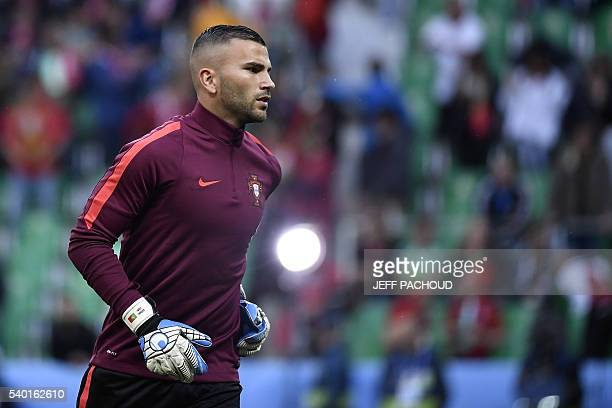 Portugal's goalkeeper Anthony Lopes warmsup prior to the start of the Euro 2016 group F football match between Portugal and Iceland at the...