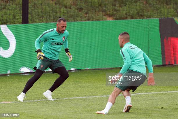 Portugal's goalkeeper Beto and Portugal's goalkeeper Anthony Lopes in action during a training session at Cidade do Futebol training camp in Oeiras...