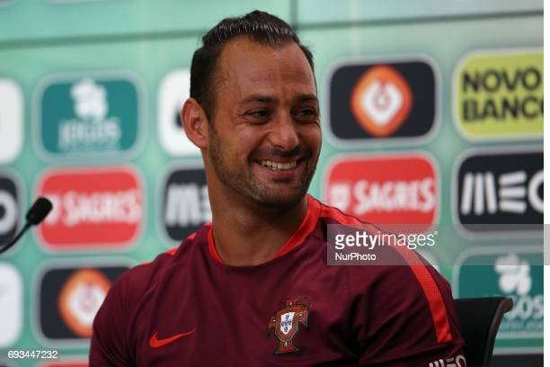Portugal's goalkeeper Beto attends a press conference before a training session at quotCidade do Futebolquot training camp in Oeiras outskirts of...