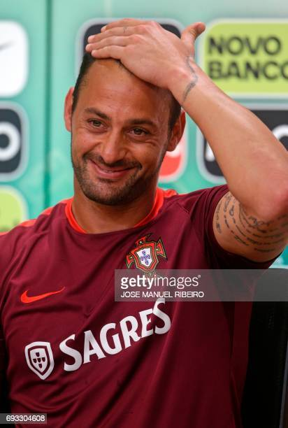 Portugal's goalkeeper Beto gestures during a press conference at Cidade do Futebol training camp in Oeiras outskirts of Lisbon on June 7 2017 on the...