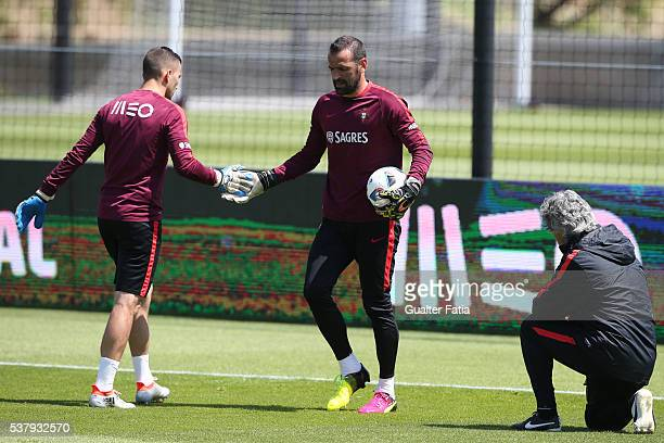 Portugal's goalkeeper Eduardo with Portugal's goalkeeper Anthony Lopes during Portugal's National Team Training session in preparation for the Euro...