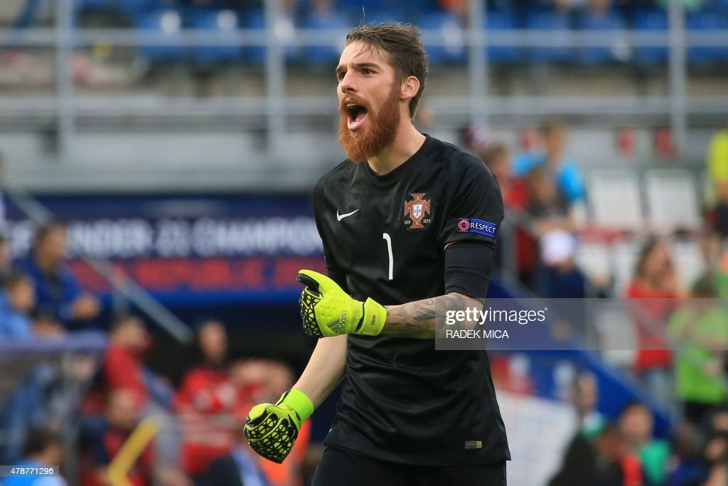 Portugal's goalkeeper Jose Sa celebrates his team's victory in the UEFA Under 21 European Championship 2015 semi final football match between Portugal and Germany in Olomouc, Czech Republic on June 27, 2015. Portugal won the match 5-0.