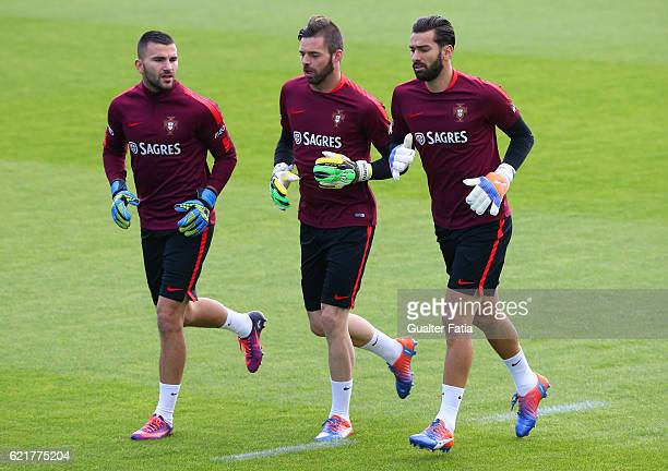 Portugal's goalkeeper Marafona with Portugal's goalkeeper Rui Patricio and Portugal's goalkeeper Anthony Lopes during Portugal's National Team...