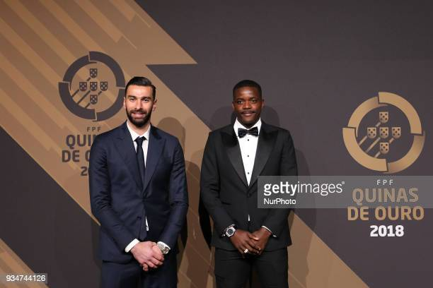 Portugals goalkeeper Rui Patricio and Portugal's midfielder William Carvalho poses on arrival at 'Quinas de Ouro' 2018 ceremony held and the Pavilhao...