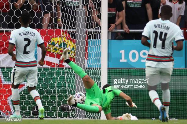 Portugal's goalkeeper Rui Patricio concedes a goal that was later ruled offisde during the UEFA EURO 2020 Group F football match between Hungary and...