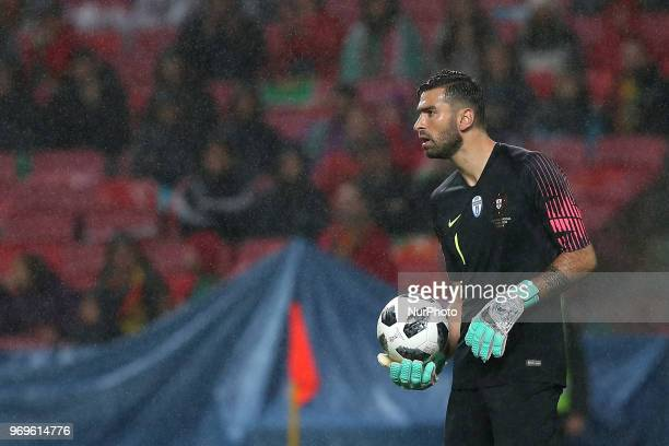 Portugal's goalkeeper Rui Patricio in action during the FIFA World Cup Russia 2018 preparation football match Portugal vs Algeria at the Luz stadium...