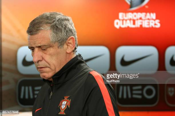 Portugals head coach Fernando Santos attends a press conference at the Luz stadium in Lisbon Portugal on March 24 on the eve of the FIFA World Cup...