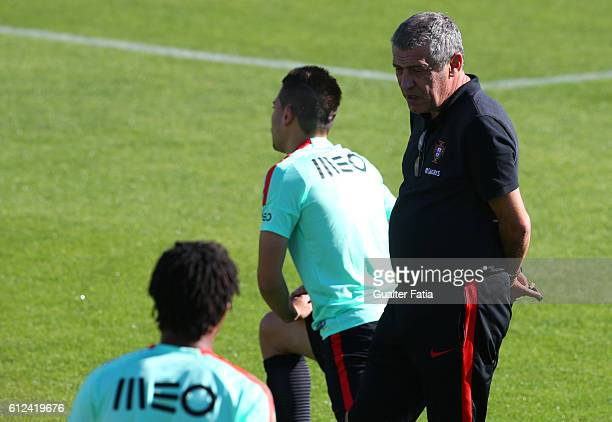 Portugal's head coach Fernando Santos during Portugal's National Team Training session before the 2018 FIFA World Cup Qualifiers matches against...