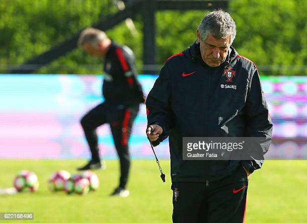 Portugal's head coach Fernando Santos during Portugal's National Team Training session before the 2018 FIFA World Cup Qualifiers match against Latvia...