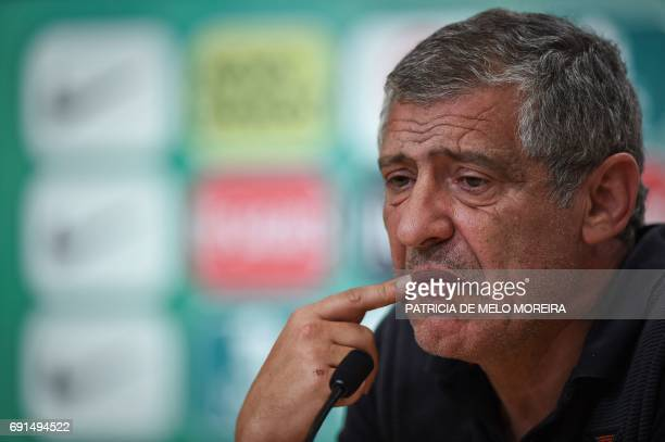 Portugal's head coach Fernando Santos gestures during a press conference at Cidade do Futebol training camp in Oeiras outskirts of Lisbon on June 2...