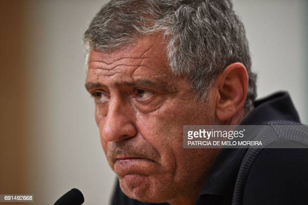 Portugal's head coach Fernando Santos grimaces during a press conference at 'Cidade do Futebol' training camp in Oeiras outskirts of Lisbon on June 2...