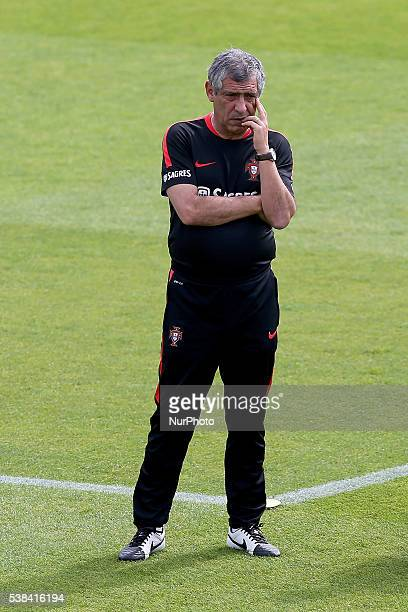 Portugal's head coach Fernando Santos in action during a Portugal training session in preparation for Euro 2016 at FPF Cidade do Futebol on June 6...