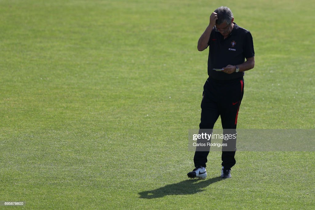 Portugal's head coach Fernando Santosduring Portugal Training Session and Press Conference for the Confederations Cup 2017 at Cidade do Futebol on June 14, 2017 in Lisbon, Portugal.