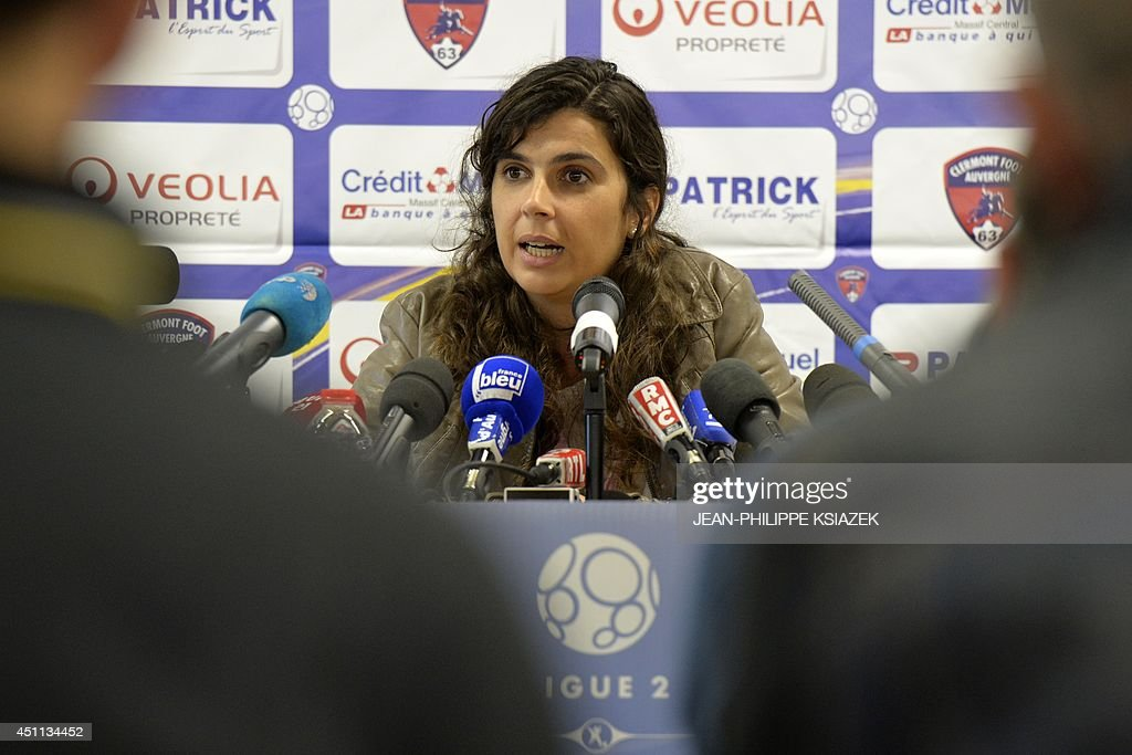 Portugal's Helena Costa speaks during a press conference on June 24, 2014 in Clermont-Ferrand, central France. The 36-year-old Costa made global headlines as the first woman to take charge of a men's professional team in a leading European nation after being named in May to coach Clermont, who play in France's second tier. Costa said on June 24, 2014 she had decided against taking up the coaching position at French side Clermont for 'purely personal' reasons.