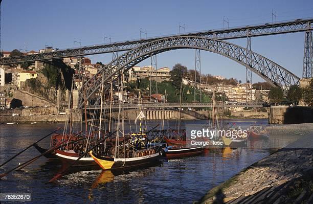 Portugal's historic city of Oporto is viewed from across the Douro River in this 2003 Vila Nova de Gaia Portugal photo