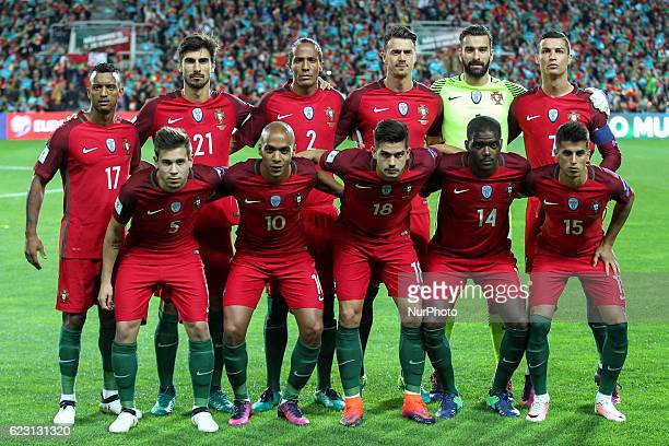 Portugals inicial team during the 2018 FIFA World Cup Qualifiers matches between Portugal and Latvia at Municipal Algarve Stadium on November 13 2016...