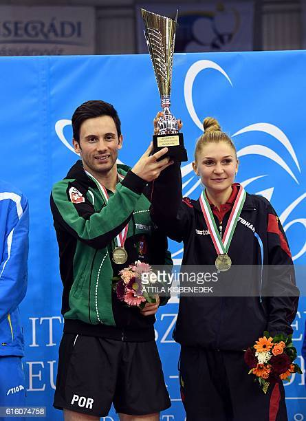 Portugal's Joao Monteiro and Daniela Monteiro Dodean pose after winning the mixed doubles final of the 2016 ITTF European Table Tennis Championships...