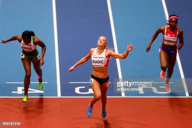 TOPSHOT Portugal's Lecabela Quaresma Austria's Ivona Dadic and Cuba's Yorgelis Rodriguez compete in the women's 60m hurdles pentathlon event at the...