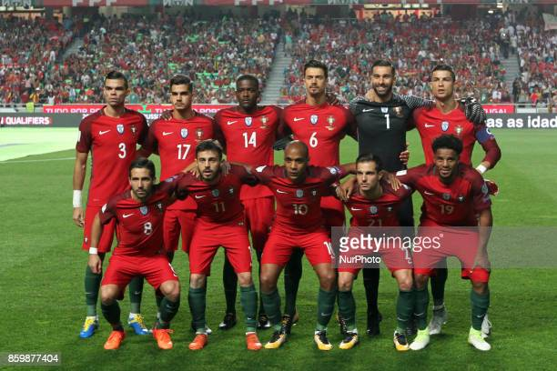 Portugal's line up team before the 2018 FIFA World Cup qualifying football match between Portugal and Switzerland at the Luz stadium in Lisbon...