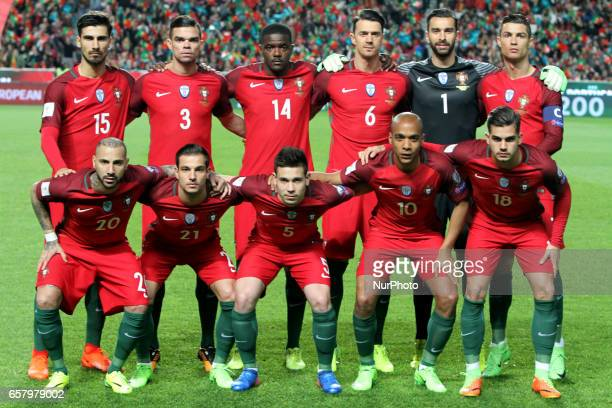 Portugal's line up team during the FIFA World Cup Russia 2018 qualifier match Portugal vs Hungary at the Luz stadium in Lisbon Portugal on March 25...