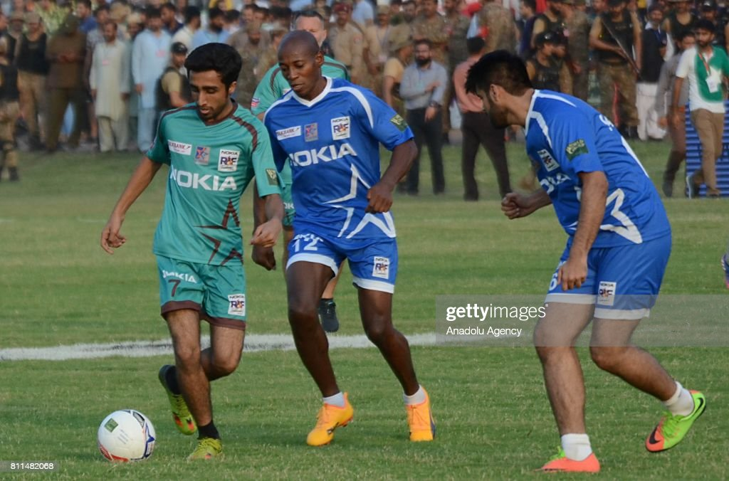 Portugal`s Luis Boa Morte in action during friendly match with Pakistani football players in Lahore Pakistan on July 9 2017 Eight of football`s...