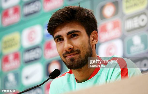 Portugal's midfielder Andre Gomes talks to the press during a Portugal press conference and training session in preparation for Euro 2016 at FPF...