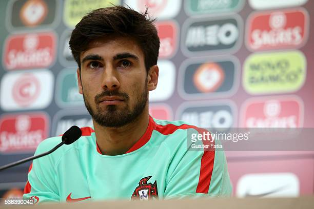 Portugal's midfielder Andre Gomes talks to the press during a Portugal press conference and training session in preparation for the Euro 2016 at FPF...
