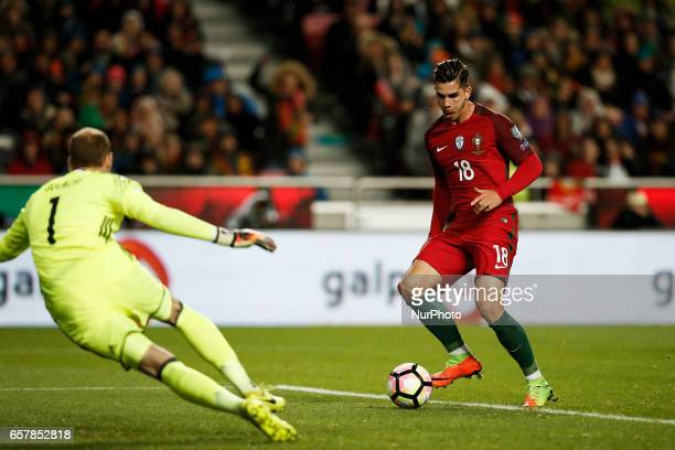 Portugal's midfielder Andre Silva shoots the ball to score his side's goal during the WC 2018 qualifier football match between Portugal vs Hungary in...
