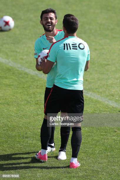 Portugal's midfielder Bernardo Silva and Portugal's defender Cedric Soares during Portugal Training Session and Press Conference for the...