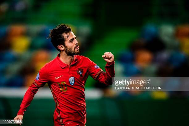 Portugal's midfielder Bernardo Silva celebrates after scoring a goal during the Nations League A group 3 football match between Portugal and Sweden...