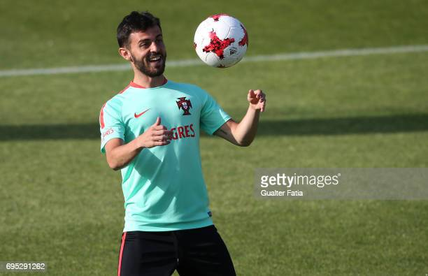 Portugal's midfielder Bernardo Silva in action during Portugal's National Team Training session before the 2017 FIFA Confederations Cup matches at...