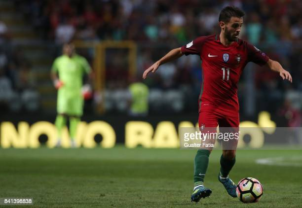 Portugal's midfielder Bernardo Silva in action during the FIFA 2018 World Cup Qualifier match between Portugal and Faroe Islands at Estadio do Bessa...