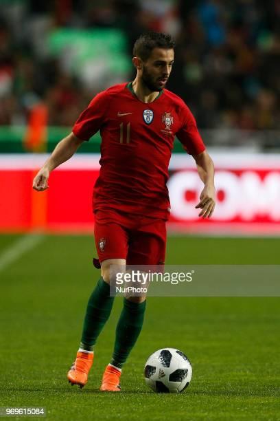 Portugal's midfielder Bernardo Silva in action during the FIFA World Cup Russia 2018 preparation match between Portugal vs Algeria in Lisbon on June...