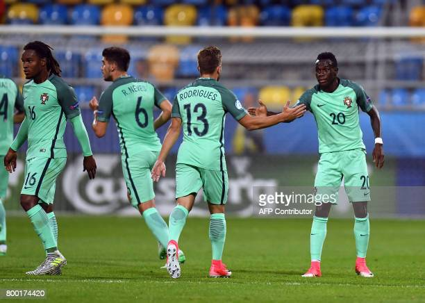 Portugal's midfielder Bruma celebrates scoring during the UEFA U21 European Championship Group B football match FYR Macedonia vs Portugal in Gdynia...