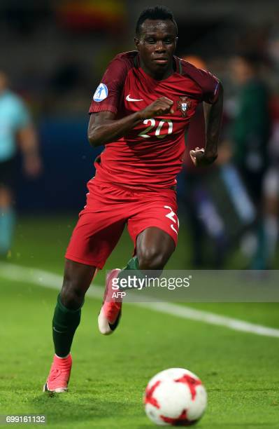 Portugal's midfielder Bruma in action during the UEFA U21 European Championship Group B football match Spain v Portugal in Gdynia on June 20 2017 /...