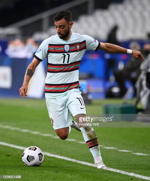 Portugal's midfielder Bruno Fernandes controls the ball during the Nations League football match between France and Portugal, on October 11, 2020 at...