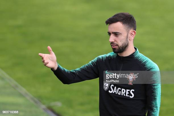 Portugal's midfielder Bruno Fernandes during a training session at Cidade do Futebol training camp in Oeiras outskirts of Lisbon on May 30 ahead of...