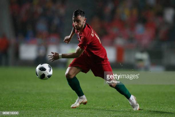 Portugal's midfielder Bruno Fernandes in action during the FIFA World Cup Russia 2018 preparation match between Portugal vs Algeria in Lisbon on June...