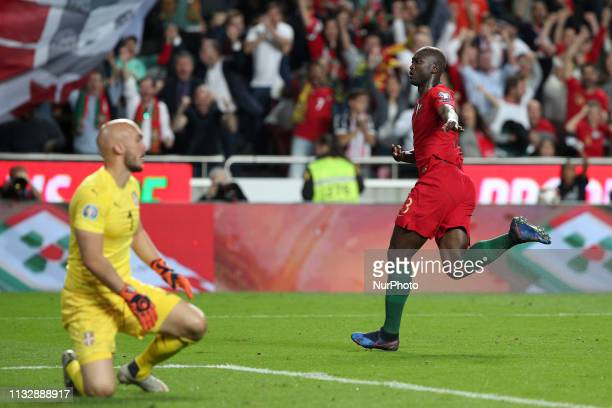 Portugal's midfielder Danilo celebrates after scoring a goal during the UEFA EURO 2020 group B qualifying football match Portugal vs Serbia at the...
