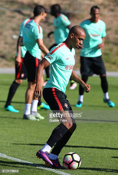 Portugal's midfielder Joao Mario in action during Portugal's National Team Training session before the 2018 FIFA World Cup Qualifiers matches against...