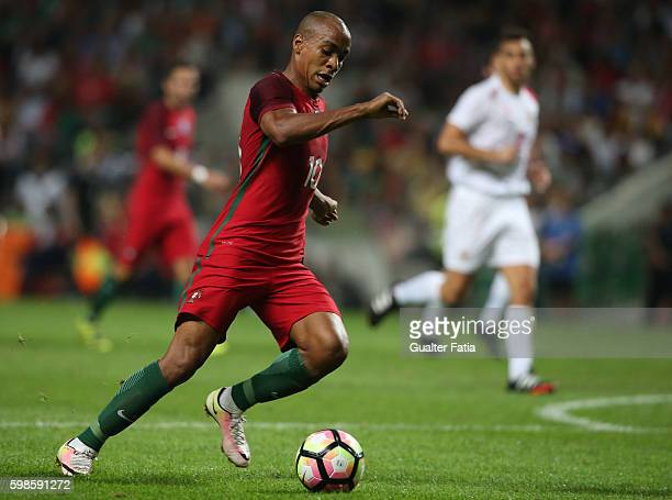 Portugal's midfielder Joao Mario in action during the International Friendly match between Portugal and Gibraltar at Estadio do Bessa on September 1...
