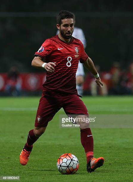 Portugal's midfielder Joao Moutinho in action during the UEFA EURO 2016 Qualifier match between Portugal and Denmark at Estadio Municipal de Braga on...