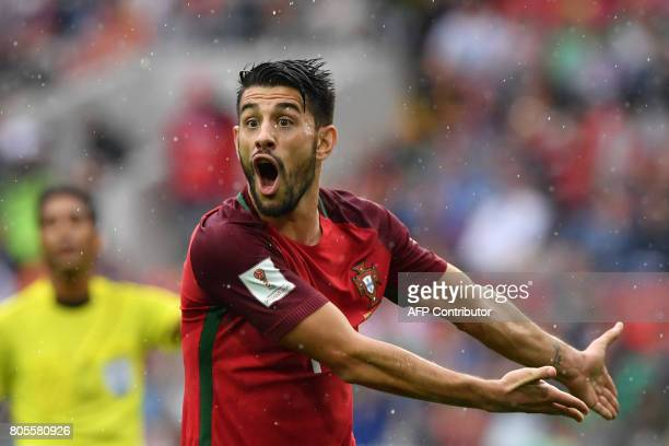 TOPSHOT Portugal's midfielder Pizzi reacts during the 2017 FIFA Confederations Cup third place football match between Portugal and Mexico at the...